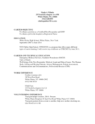 Nice Emt Resume Format Photos Documentation Template Example