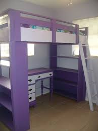 Loft Teenage Bedroom Diy Loft Bed Plans With A Desk Under Purple Loft Bed With