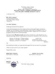 Nstp Letter To Bgy Chairman