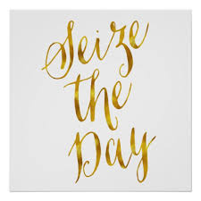 Seize The Day Quotes Interesting Seize The Day Quote Faux Gold Foil Metallic Design Poster Zazzle