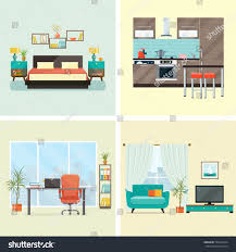 creative furniture icons set flat design. set of interior design house rooms with furniture icons living room bedroom kitchen creative flat o
