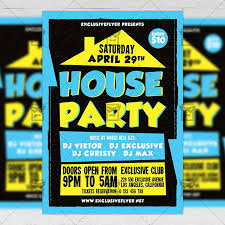House Party Club A5 Flyer Template