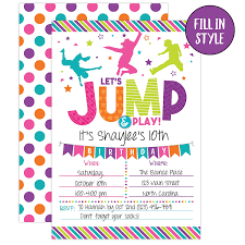 Birthday Invatations Bounce House Birthday Invitation Trampoline Jump Birthday Invite Girl Bounce Birthday Bounce And Play Trampoline Birthday Party 20 Fill In