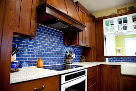 Blue Tiles For Kitchen Bold Blue Subway Tile Kitchen Mercury Mosaics