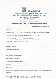 payment page for o mordha restaurant equipment and parts inc and credit card authorization form