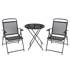best choice s 3 piece adjule foldable compact outdoor bistro set w reclining chairs black com