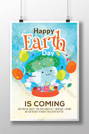 Cartoon Style Cute Water Color Earth Day Flyer Templates