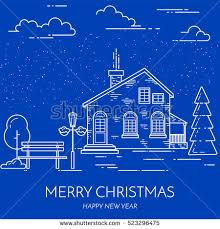 new year real estate flyers winter christmas new year city suburb stock vector 523296475