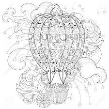 手描き落書き概要熱気球フライトで花飾り飾られています花の飾りタトゥーポスター子供または大人
