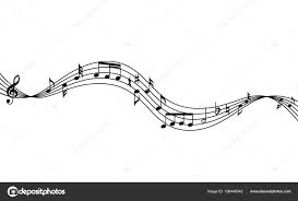 Muscial Staff Curved Music Staff Notes Background Waving Musical Staff