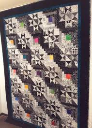 142 best Gray's, White's and Neutral Quilts images on Pinterest ... & Log Cabin and Star Quilt, Black and White Modern, Batik Fabric, Multi  Colored Adamdwight.com