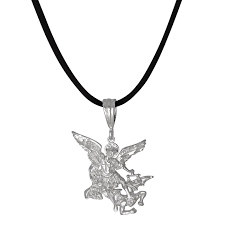 saint michael archangel fighting a demon small diamond cut pendant in sterling loading zoom