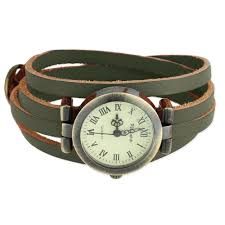 green leather wrap watch view detailed images 1