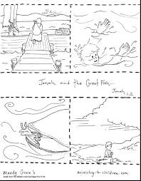Jonah And The Whale Coloring Pages For Preschoolers With Beautiful