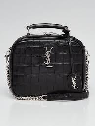 yves saint lau black crocodile embossed leather lunch box bag