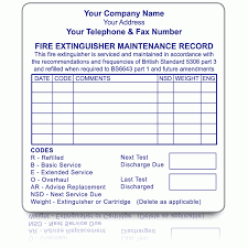 72mm X 73mm Personalised Small Fire Extinguisher Maintenance Labels