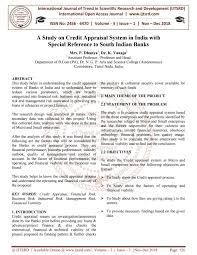 A Study On Credit Appraisal System In India With Special Reference