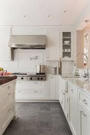 white shaker kitchen cabinets grey floor. Beautiful Kitchen Design With White Shaker Cabinets Caesarstone Concrete Countertops, Glossy Grey Floor I