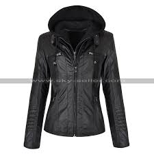 product feature beautiful women s black leather jacket