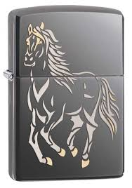 <b>Зажигалка ZIPPO Running</b> Horse, латунь с покрытием Black Ice ...