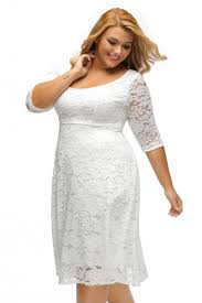 White Floral Lace Sleeved Fit And Flare Curvy Dress Zekela Com
