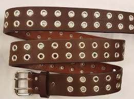leather double holed with grommets made in the usa all our belts are 1 3