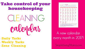 Monthly Cleaning Calendar Organize Housekeeping Routines Simple