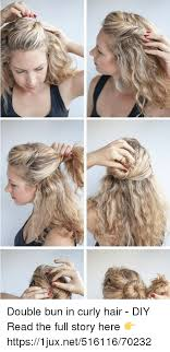 german age curly hair and diy double bun in curly hair