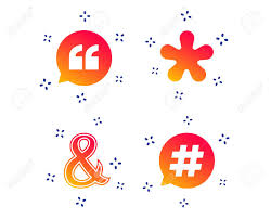 Quote Asterisk Footnote Icons Hashtag Social Media And Ampersand