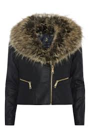 black luxe faux fur collar biker jacket