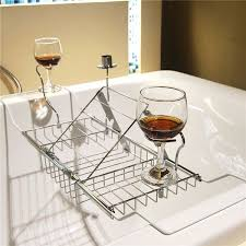 details about expandable stainless steel bath caddy wine glass holder tray over bathtub rack