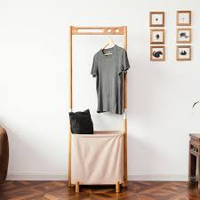 Heavy Coat Rack Bamboo Clothes Rack Heavy Duty Multi function Clothing Rack Portable 84