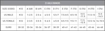 Finis Zoomer Z2 Gold Fins Size Chart Finis Z2 Gold Zoomers Fins K12 Buy Online See Prices
