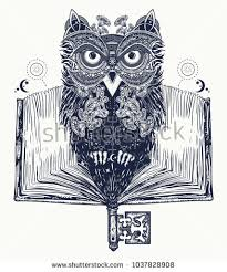 owl and open book tattoo and t shirt design symbol of education literature