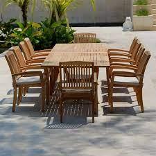 11 pc teak outdoor dining table set