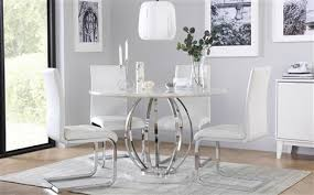 white round table. Savoy Round White Marble And Chrome Dining Table - With 4 Perth Chairs