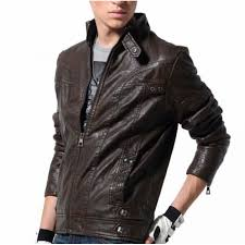 hugme fashion pure leather high stand collar full sleeves jk4
