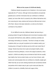 essay about obesity essay what are the causes of childhood obesity  essay what are the causes of childhood obesity
