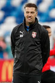 serbia head coach mladen krstajic arrives for the official training session of the serbian team one