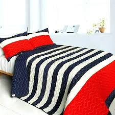 blue white striped quilt cover red navy teen boy bedding full queen