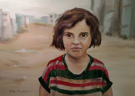 syrian refugee girl standing in road in refugee camp gallery artist judy arvidson of illinois painted this watercolor