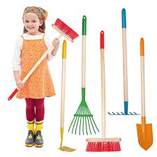 multicolored kids gardening tools with