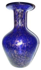 cobalt blue glass vase art glass cobalt blue gold sparkle spots vase 7 7 8 cobalt