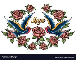 Birds And Roses Drawn In Tattoo Style Royalty Free Vector