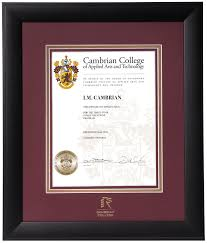 cambrian college diploma frames buy cambrian frames online infused black diploma frame