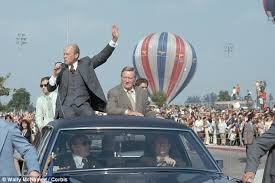 ford president car. long service: actor john wayne campaigns with president gerald ford in the presidential limo car o