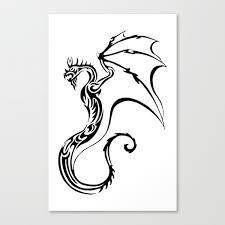 Old Tribal Dragon Tattoo Canvas Print