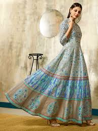 Colors To Wear With Light Blue Light Blue And Grey Colour Designer Partywear Chanderi Gown Digital Print
