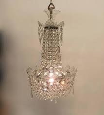 20th century petite crystal and glass chandelier for