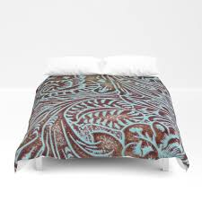 light blue brown tooled leather duvet cover